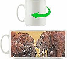 Elefantenherde mit Kindern, Motivtasse aus weißem Keramik 300ml, Tolle Geschenkidee zu jedem Anlass. Ihr neuer Lieblingsbecher für Kaffe, Tee und Heißgetränke.