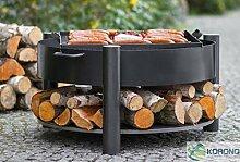 Elegant 2 in 1 Korono Feuerschale 60 cm & Grill Rost 44x44 cm & Ablage für Holz - stilvolles Gartenfeuer & Grill