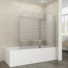 Elegant Badewannenaufsatz 2-teilig Duschwand mit