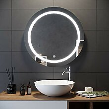 Elegant Badspiegel mit LED-Beleuchtung rund 84cm