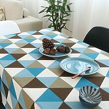 Elegant baumwolle und leinen gitter streifen tischtuch esszimmer wohnzimmer esszimmer möbel-D 140x300cm(55x118inch)