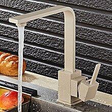 Elegant Küchenarmatur-Spültischarmatur 360° Drehbar Schwenkbar Wasserhahn Einhebel Armatur Einhandmischer Mischbatterie Spültischbatterie f.Küche Spüle Spülbecken Geschirrspüler Massiv Messing (Granit-Beige)