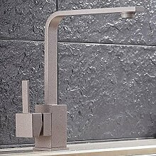 Elegant Küchenarmatur-Spültischarmatur 360° Drehbar Schwenkbar Wasserhahn Einhebel Armatur Einhandmischer Mischbatterie Spültischbatterie f.Küche Spüle Spülbecken Geschirrspüler Massiv Messing (Granit-Grau)