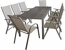 Elegante 9tlg Gartengarnitur Alu / Polywood Tisch