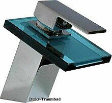 Elegante Badezimmer Wasserfall Armatur mit blauem Glas