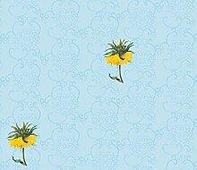 Elegante blau Tapete mit exotischen Blumen auf chinesischem Muster - Vlies Tapete Ornamente Blumen - Klassische Wanddeko - GMM Design Tapete - Wandtapete - Wand Dekoration für edle Wohnakzente (Höhe 3m Breite 46,5cm)