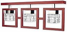 Elegante Deckenleuchte in Rot Klar/Transparent Bauhaus 3xE14 bis 60W 230V aus Stahl & Glas Flur Wohnzimmer Esszimmer Lampe Leuchten Beleuchtung