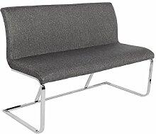 Elegante Design Sitzbank HAMPTON grau 130cm mit