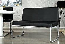 Elegante Design Sitzbank HAMPTON mit Rückenlehne schwarz 120 cm