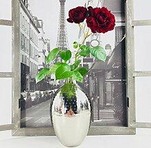 elegante Designer Vase   Silber gehämmert Chrom