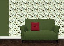 Elegante Fisch an Dill Tapete statt Aquarium mit schwimmenden Rotfedern zwischen Dill Ranken - Vlies Tapete Ornamente Tiere - Klassische Wanddeko - GMM Design Tapete - Wandtapete - Wand Dekoration für edle Wohnakzente (Muster 20 x 46,5cm)