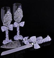 Elegante Hochzeit Kuchen Messer und Server und