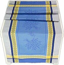 Elegante Jacquard Tischdecke 50x160 cm Eckig Blau