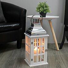Elegante Laterne 47x20x20cm mit Tragehenkel Windlicht Gartenlaterne Holzlaterne Kerzenhalter Gartenbeleuchtung Dekoration - Weiß/Silber