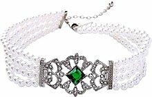 Elegante Multi-Layered Perlen Smaragd Diamant
