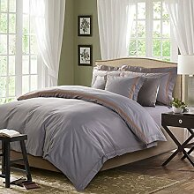 Elegante Serie 4 Stück 100% Baumwolle Twill Stoff Grau Bettwäsche set mit Stickerei gute Qualität Steppdecke Steppdecke graue Farbe Blätter umfass