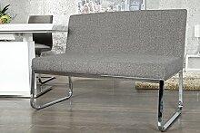 Elegante Sitzbank HAMPTON mit Rückenlehne Strukturstoff grau 120 cm
