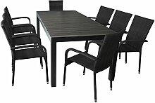 Elegante Sitzgruppe Gartengarnitur Gartenmöbel Terrassenmöbel Set 9-teilig - Ausziehtisch, 224/284/344x100cm, Polywood-Tischplatte, schwarz + 8x Polyrattan Gartenstuhl, schwarz, stapelbar