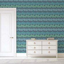 Elegante Streifentapete mit Federn in blau Tönen