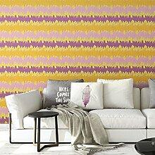 Elegante Streifentapete mit Federn in gelb rosa