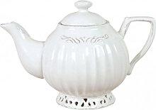 Elegante Teekanne aus weißen Porzellan Shabby