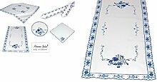 elegante Tischdecke 40x93 cm eckig PLAUENER SPITZE ® weiß ZWIEBELMUSTER Blau gestickt Küchendecke pflegeleicht Polyesterdecke (Tischläufer 40x93 cm eckig)