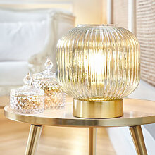 Elegante Tischlampe mit effektvollem Glasschirm