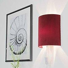 Elegante Wandlampe Rot Schirm aus Samt mit Stecker