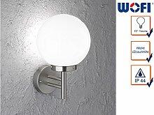 Elegante Wandleuchte / Außenleuchte Kugel REMO mit Filament LED Leuchtmittel, Edelstahl gebürstet & Glas weiß, Fassadenbeleuchtung E27-Fassung, Wofi-Leuchten