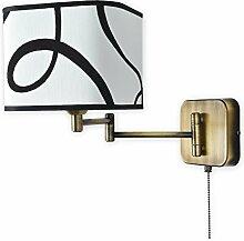 Elegante Wandleuchte Beige Messing E27 bis 60W 230V Stahl Textil Wohnzimmer Esszimmer Lampe Leuchte Beleuchtung innen