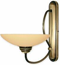 Elegante Wandleuchte in Beige Messing 1xE27 bis 60W 230V aus Stahl & Glas Wohnzimmer Esszimmer Lampen Leuchte innen Beleuchtung