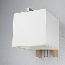 Elegante Wandleuchte in Buche Beige Bauhausstil 1x E27 bis zu 60 Watt 230V aus gewebten Stoff & Metall Flur Wohnzimmer Esszimmer Lampe Leuchten innen Wandlampe