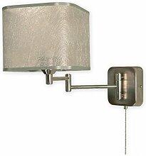 Elegante Wandleuchte in Nickel Silber 1xE27 bis 60W 230V aus Stahl & Textil Wohnzimmer Esszimmer Lampen Leuchte innen Beleuchtung