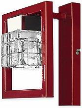 Elegante Wandleuchte in Rot Klar/Transparent Bauhausstil 1xE14 bis 60W 230V aus Stahl & Glas Wohnzimmer Esszimmer Lampe Leuchten Beleuchtung innen
