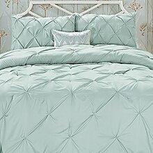 Eleganten Komfort knitterfrei–All Season Luxus seidig weich mit Biesen 3-teilig Tröster Set–King Misty blau