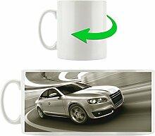 Eleganter Audi silber fährt Kurve, Motivtasse aus weißem Keramik 300ml, Tolle Geschenkidee zu jedem Anlass. Ihr neuer Lieblingsbecher für Kaffe, Tee und Heißgetränke.