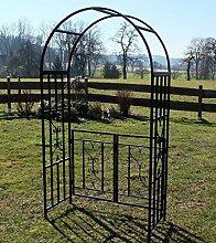 Eleganter Rosenbogen Rankhilfe mit Tür Gartentür Gartentor aus Metall schwarz Mod. 5044-G von AS-S