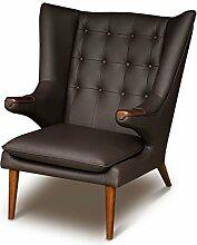 Eleganter Vintage Zigarren Lounge Ohrensessel Clubsessel Fernsehsessel Armlehnsessel Leder Ohren Sessel. Abbildung Leder Dunkelbraun mit massivem Walnuss Holz.