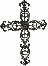 Elegantes Blumenmuster Scroll Metall Wand Kreuz