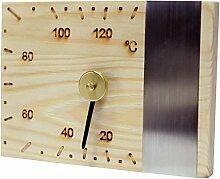 Elegantes Luxus Sauna Thermometer mit Edelstahlleiste - aus Natur/ Nadelholz