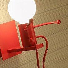 ELEGENCE-Z Wandleuchte Kinder Moderne Villa Schlafzimmer Nachttischlampe LED Kreative Cartoon Gang Innen Einzelscheinwerfer Weiß Rot Schwarz Geschenk Weihnachten , red