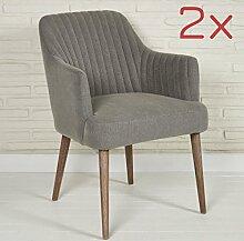 Elegnate Polsterstühle 2 Stück Sessel für Wohnzimmer oder Esszimmer - Designer Sessel Stoff in grau mit Armlehnen