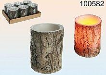 Elektrische Echtwachs Kerze im Baumstamm Design