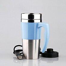 Elektrische Tasse Keramik Doppelschicht Elektroheizung cup Isolierung Cup Heizung Cup Wasserkocher Elektroauto Elektro cup , blue
