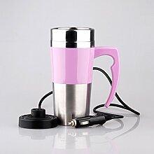 Elektrische Tasse Keramik Doppelschicht Elektroheizung cup Isolierung Cup Heizung Cup Wasserkocher Elektroauto Elektro cup , pink