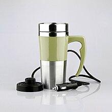 Elektrische Tasse Keramik Doppelschicht Elektroheizung cup Isolierung Cup Heizung Cup Wasserkocher Elektroauto Elektro cup , green