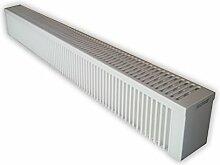 Elektroheizung - Radiator - 2500 Watt - im Set - inkl. Wandmontageset und 1,8m Anschlusskabel- Wandthermostat für Festanschluss - mit Schamottespeicherkern - Maße: (LxHxT) 1630x230x130 - Lagerware