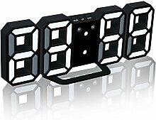 Elektronische 3D LED Digital Wecker, Moderne Multifunktionale Wanduhr mit dimmbaren Nachtlicht, Snooze-Funktion, Auto-Speicher, 24/12 Stundenanzeige (Schwarz-Weiß)