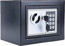 Elektronischer Tresor, Tomasa Safe Tresor Sicherheitskasten mit digitalem Zahlenschloss inkl. 4 Batterien und 2 Schlüssel für Schmuck Bargeld 22.5 x 17 x 16cm (Schwarz)