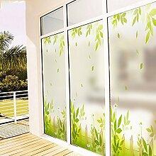 Elektrostatische Folie zu Glas mattes Fenster Balkon Tür Glas Garten Aufkleber Sonnenschutz Wärmedämmung Film grün Brise, matt geschrubbt, 58Cm breit * 60Cm hoch